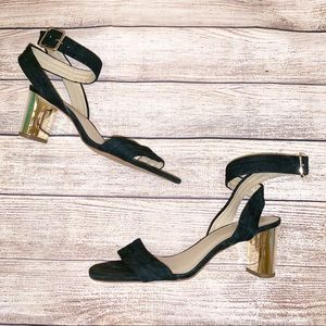 Ann Taylor Black Sandals with Gold Heel